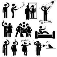Selfie Stick Figure Icônes De Pictogramme. vecteur