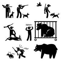 Icône de pictogramme de bonhomme allumette chasseur et chien de chasse.