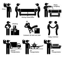 Services de déménagement, déménagement, bureau, marchandise, logistique, icône de pictogramme de bonhomme allumette. vecteur