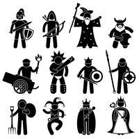 Ancien personnage de guerrier pour bonne alliance icône symbole signe pictogramme. vecteur