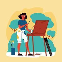 composition d'artiste de peinture en plein air vecteur