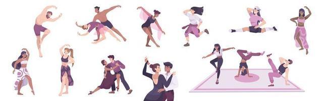 jeu d'icônes plat de danseurs vecteur