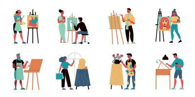 jeu d'icônes d'artistes illustrateurs vecteur