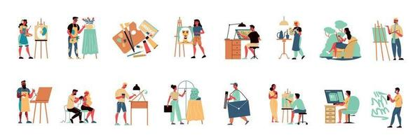 collection d'icônes d'artistes créatifs vecteur