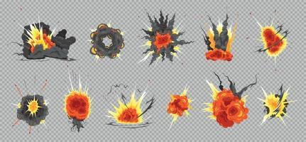 ensemble transparent d'explosion de bombe vecteur