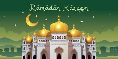 affiche horizontale de la mosquée du ramadan vecteur