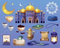 jeu d'icônes de ramadan kareem vecteur