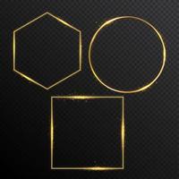 cadre lumineux de vecteur de paillettes d'or