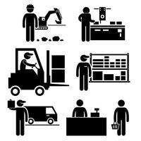 Écosystème commercial entre l'icône du pictogramme de bonhomme allumette fabricant, distributeur, grossiste, détaillant et consommateur