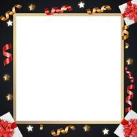 fond abstrait cadre brillant doré avec des cadeaux et des guirlandes vecteur