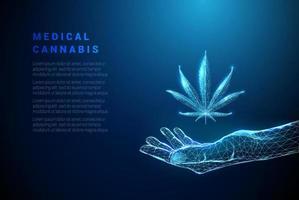 bleu abstrait donnant la main avec une feuille de cannabis vecteur