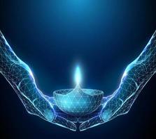 Paire de mains abstraites tenant la lampe rougeoyante de diwali vecteur