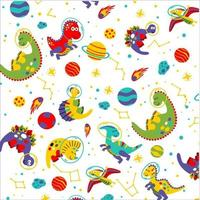conception de t-shirt pour enfants à motif mignon dino galaxy vecteur