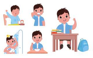La routine quotidienne d'un enfant (garçon) vecteur