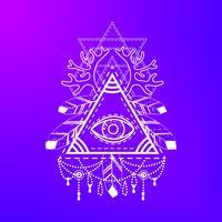 Symbole de pyramide oculaire qui voit tout.