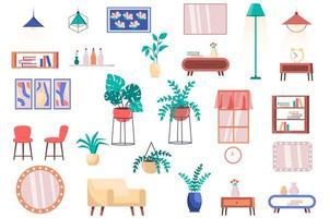 ensemble d'éléments isolés de meubles, de plantes d'intérieur et de décoration. paquet de chaises, fauteuil, tables, lampes, étagères, miroirs, fenêtre et autres. kit créateur pour illustration vectorielle en dessin animé plat vecteur