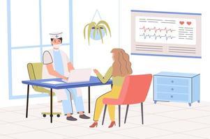 concept de clinique médicale. le médecin consulte le patient au bureau. femme visitant son thérapeute pour examen. diagnostic et traitement des maladies à l'hôpital. illustration vectorielle dans un design plat tendance vecteur