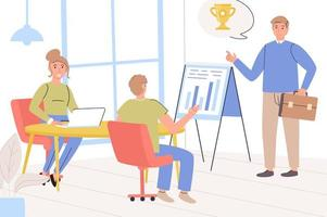 concept de direction. équipe d'employés lors d'une réunion d'affaires, analyse de données et définition d'objectifs, obtention de meilleurs résultats, succès et développement de l'entreprise. illustration vectorielle dans un design plat tendance vecteur