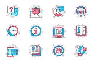 ensemble d'icônes de ligne plate de concept de support client. consultation et assistance en centre d'appels. paquet de message, casque, question, faq et autre. symboles de contour de pack conceptuel vectoriel pour application mobile