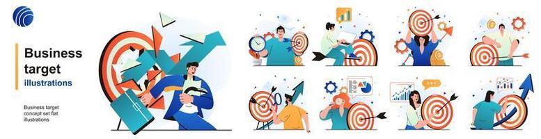 ensemble isolé de cible commerciale. réalisation des objectifs, stratégie de réussite dans la carrière. collection de scènes de personnes au design plat. illustration vectorielle pour les blogs, site Web, application mobile, matériel promotionnel. vecteur