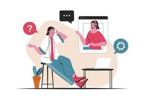 concept de service client isolé. support technique, consultations de la hotline du centre d'appels. scène de personnes en dessin animé plat. illustration vectorielle pour les blogs, site Web, application mobile, matériel promotionnel. vecteur