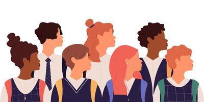 groupe d'écoliers en uniforme scolaire vecteur