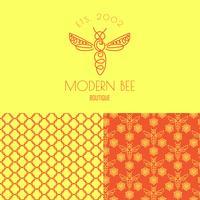 insecte. Badge Bee pour identité visuelle vecteur