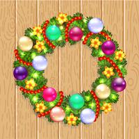 Guirlande de Noël avec sapin et houx vecteur
