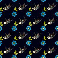 Hirondelles et fleurs dans un tatouage à l'ancienne. Le jour des morts. vecteur