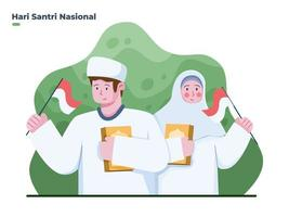 illustration garçon et fille musulmans célèbrent la journée nationale du santri le 22 octobre. bonne journée santri. peut être utilisé pour la carte de voeux, la bannière, l'affiche, la carte postale, le web, les médias sociaux, l'impression. vecteur