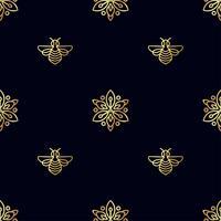 Modèle sans couture avec abeille d'or vecteur