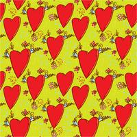 Modèle sans couture avec des coeurs et des fleurs avec une esquisse graphique de style doodle