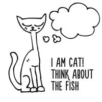chat dessiné avec bulle de pensée vecteur
