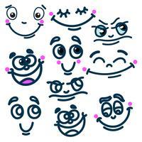 Dessin animé visage émotions ensemble vecteur