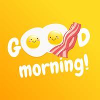"""""""Bonjour"""" petit déjeuner savoureux classique d'œufs et de bacon vecteur"""