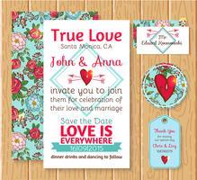Invitation de mariage enregistrer les cartes de date vecteur