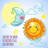 soleil souriant et lune bleue endormie