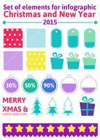Définir les éléments de Noël infographique dans un style plat vecteur