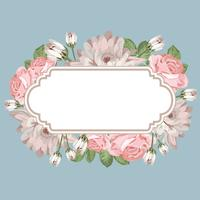 Modèle de carte floral avec cadre vide vecteur