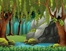 Grotte dans la forêt profonde vecteur