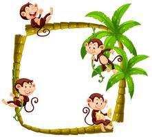 Cadre design avec des singes sur un cocotier