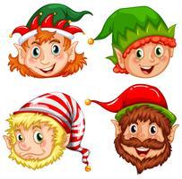 Quatre personnages de lutins de Noël vecteur