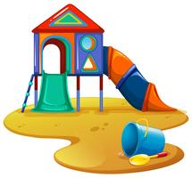 Aire de jeux avec toboggan et jouets vecteur