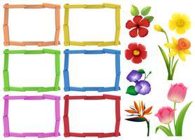Modèle de cadre avec différentes sortes de fleurs