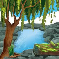 Scène avec rivière en forêt vecteur