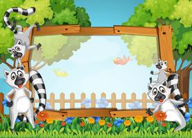 Conception de cadre avec lémurien dans le jardin