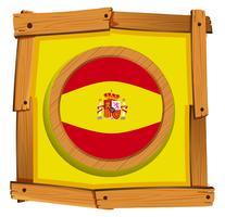 Drapeau Espagne sur badge rond vecteur