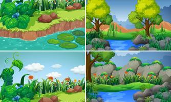 Quatre scènes avec rivière et arbres