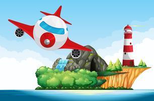 Avion survolant le phare