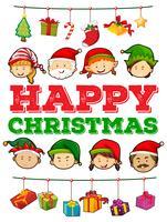 Thème de Noël avec des gens et des cadeaux